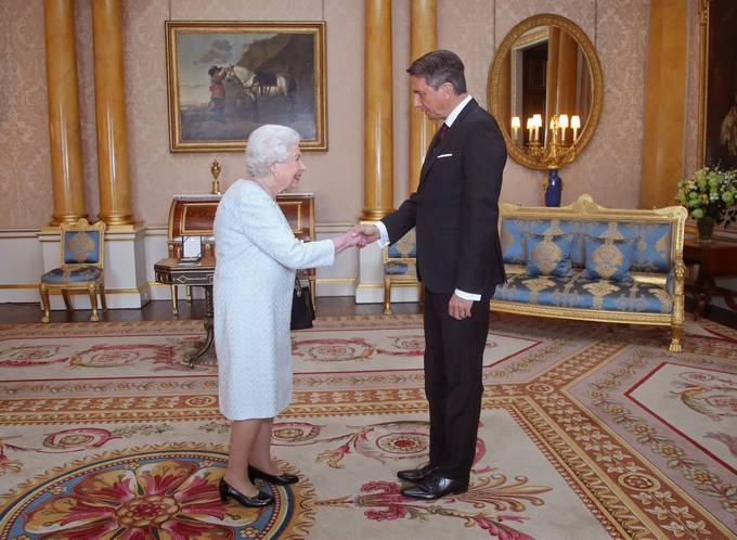 Slovenian President Borut Pahor received by Queen Elizabeth II