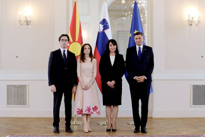 President Pahor and Tanja Pečar host president of North Macedonia and spouse on official visit to Slovenia